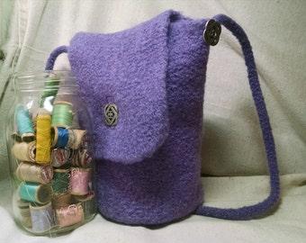 Hand knit fulled/felt lavender purple wool bag flap ren faire purse
