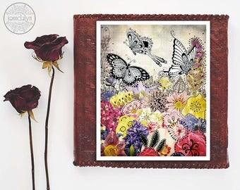 butterfly wall art - pink purple girl nursery decor - flower prints - butterflies