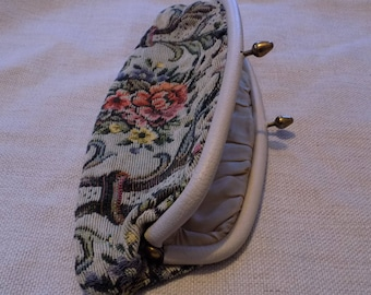Vintage purse, antique purse, floral handbag,  floral petit point  purse, Victorian Tapestry clutch purse