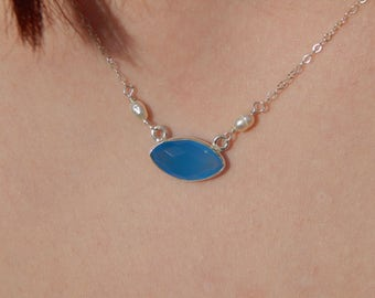 Dainty Sterling Silver Necklace with Blue Agate and Hand-Wrapped Natural Pearls, OOAK, One of a Kind