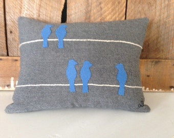 Blue Birds on Wire on Gray Wool Pillow JKB