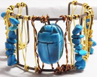 Egyptian Scarab Beetle cuff. steampunk jewellery, Blue Beetle cuff