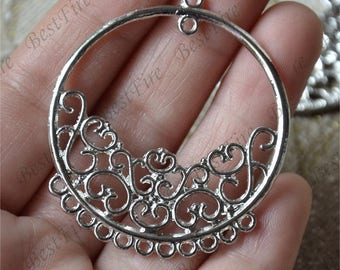 6  pcs of Antique silver circle flower Connector pendant, charm Metal Earring Components ,earring Pendant charm