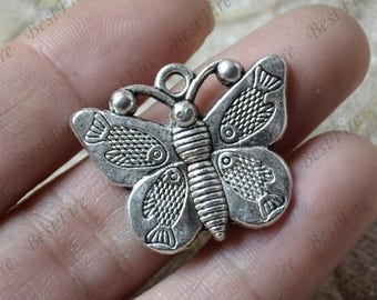 12 pcs Charms butterfly Pendant Antique silver Tone, butterfly Pendant Charms Fingdings pendant,jewelry pendant finding