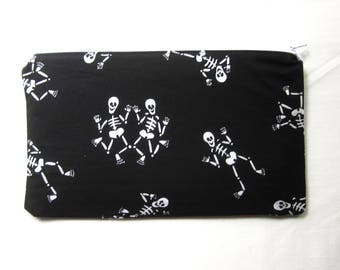 Dancing Skeletons Fabric Zipper Pouch / Pencil Case / Make Up Bag / Gadget Sack