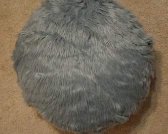 Faux Fur Grey Circle Pillow