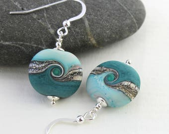 Seashore Teal Green Matt Glass & Sterling Silver OR Titanium Earrings, Turquoise Glass, Lampwork Jewelry, Handmade, Glass Jewelry