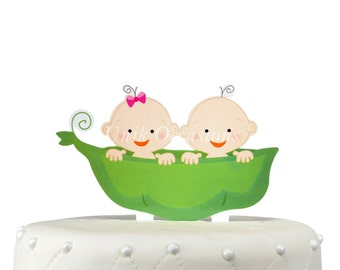 Unik Occasions Two Peas in a Pod Twins Acrylic Cake Topper - Boy & Girl
