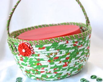 SALE.... Decorative Green Bowl, Homemade Christmas Gift Basket, Holiday Decoration,  Holiday Cookie Caddy, Christmas in July