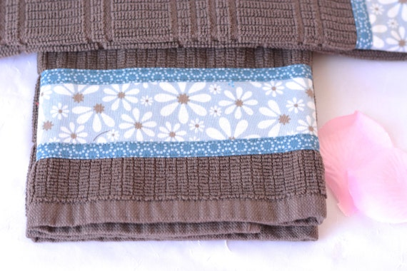 Bridal Shower Gift, 2 Lovely Hand Decorated Towels, Set of Two Cotton Kitchen Towels, Brown and Blue Towels, Fall Decoration