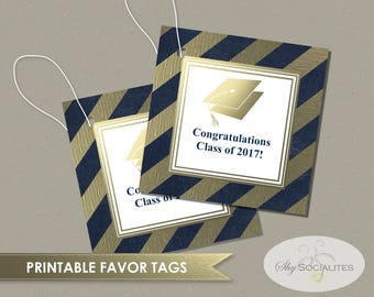Class of 2017 Printable Graduation Favor Tags | Grad Hat, Gift Tags, Blue and Gold, Foil Look, Stripes | INSTANT DOWNLOAD