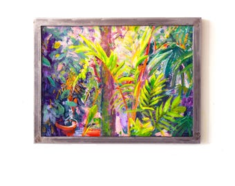 Botanical Art painting on glass Tender Wild Heart Original painting of vibrant tropical greenhouse