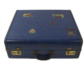 Vintage Blue Suitcase with Travel Stickers //  Large Luggage // Blue Interior