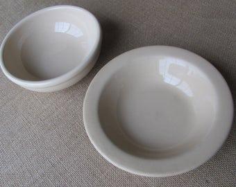 TEPCO Shenango Restaurant Ware bowls Tan Rim Rol Wel Roc Coffee Shop Diner Hotel Ware Earthen Ware