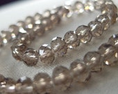 6mm Light Smoky Brown Crystal Beads, faceted rondelle,  approx 50 pieces