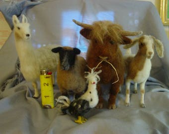 Five Figure Barnyard Gang Set of Needle Felted Animals