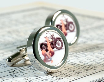 Pin Up Girl Cufflinks Girl on a Motorbike Weddings, Father, Sons Motorcycle Gift PC650