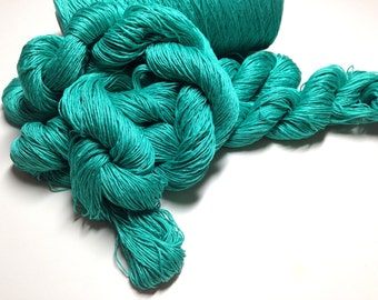 Bright Teal Crochet Thread, Knitting Supplies, 3 Skeins of Mystery Fiber, 5 Ply Fingering Weight, Y204