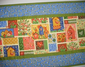 Spring Table Runner, Birds, Floral, Easter, quilted, Summer,Handmade, table runner quilted,  fabric from Paintbrush Studio