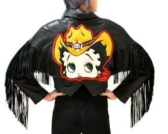 Vintage Black Leather Jacket with fringe Betty Boop Large// Vintage Black Leather Biker Jacket Size Medium Comic Pin Up Girl Fringe
