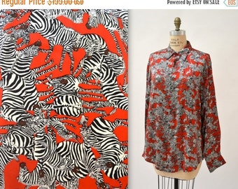 15% OFF SALE 90s Zebra Animal Print Nicole Miller Silk Shirt Size Medium Large// Black White and Red Silk Shirt Blouse with Zebras
