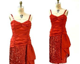 80s Red Sequin Dress Size Medium// Vintage 80s Prom Dress Red Party Dress Medium