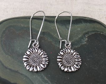 Silver Sunflower Earrings - Dangle Drop - Simple Everyday Silver Earrings - Nature Botanical