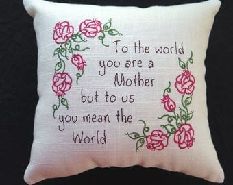 Embroidered Mother Pillow