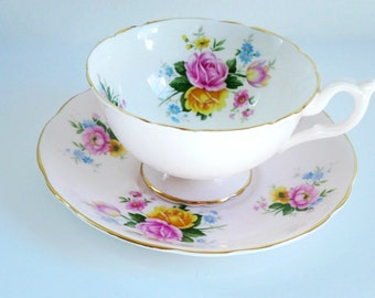 Vintage Pink Tea Cup and Saucer,  Pink and Yellow Roses Teacup and Saucer, English Teacup Set,  EB Foley Pale Pink Cup and Saucer, Pastel