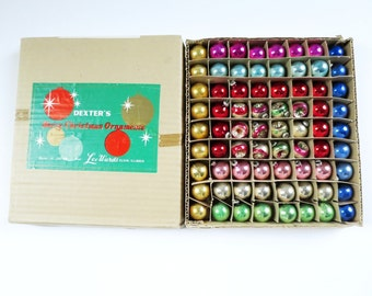 Vintage Mini Ornaments, Mercury Glass Box of 72, Mini Tree Ornaments, Mini Colored Glass Orbs, 1950s Boxed Ornament Set, SwirlingO11