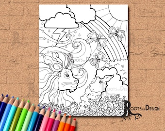 INSTANT DOWNLOAD Coloring Page - Lion Lamb Coloring. March comes in like a lion and goes out like a lamb, doodle art, printable