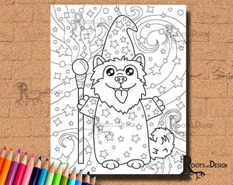 INSTANT DOWNLOAD Coloring Page - Wizard Dog Print, doodle art, printable
