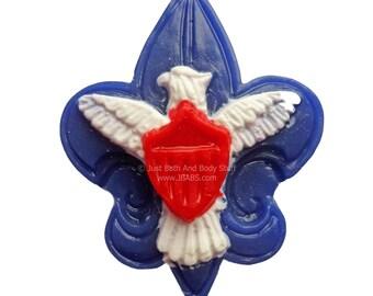 Scout Soap, Boy Soap, Eagle Shield Fleur De Lis, Red White & Blue, Scouts, Camping, American, Soap for Boys, Soap for Men