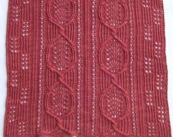 Knit Shawl Pattern:  Sakai Cable Lace Shawl Knitting Pattern