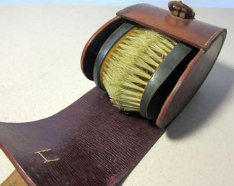 Victorian Sterling Silver Gentlemens Travel Clothes Brush Brushes Leather Case