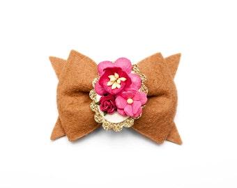 Camel || Floral Cameo || Hair Clip or Headband