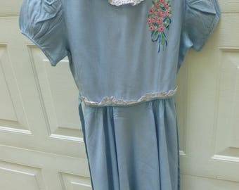 Vintage School Girl Soft Linen Light Blue Handmade Dress with white Lace and Embroidery - NC