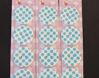 "Riley Blake Sew Together 1 "" Matte Round Dot Buttons - Teal"