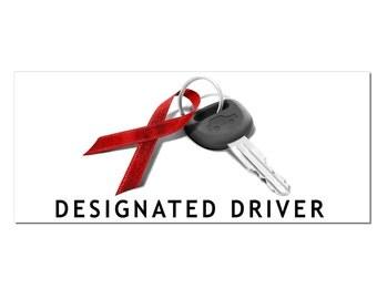 December Drunk Driving Prevention Designated Driver Window or Bumper Sticker