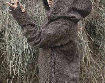 Brown Pullover with Hoodie for Women