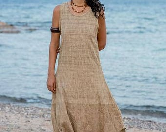 Long Sleeveless Dress ~ Natural Handwoven Raw Silk ~