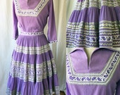 1950's Patio Ensemble /Size S /Purple Crinkle with Silver Ric Rac Trim/ Blouse and Mexican Skirt, Full Skirt, 50's casual, Mexican Dress