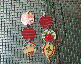 Triple Tin Disc Drop Earrings, Mixed Reds, Very Light Weight, Silver Ear Wires