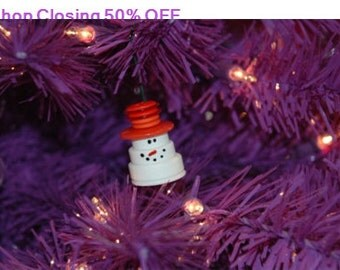 Shop Closing 50% OFF Mr. Snowman Button Christmas Tree Ornament with Orange Top Hat - Proceeds Benefit Cancer Research