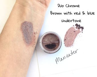 Maneater Purple Red Eye Shadow - Mineral Eye Shadow Natural Duo Chrome Eye Makeup - Copper Gold Eye Color Sparkle