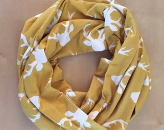 Jersey Knit Infinity Scarf - Buck forest - mustard yellow with white deer