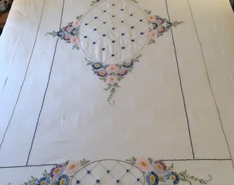 Hand Embroidered Twin Bedspread