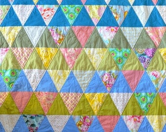 Triangle Quilt, Modern Floral, Blues & Greens, Twin Size