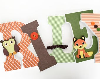 Fox and Owl Woodland Custom Decorated Wooden Letters, Nursery Name Décor, Boy Bedroom, Hanging Wood Wall Decorations Baby Shower Gift Forest