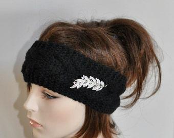 Black Headband Crystal Brooch Black Ear warmer Headwrap Warm HairBand CHOOSE COLOR Black Crystal Brooch Hat Christmas Gift under 50